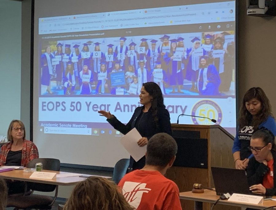 Edith Gutierrez, the director of the EOPS, CalWORKs and CARE programs at El Camino College talks about the 50th year anniversary of the Extended Opportunity Programs and Services at an Academic Senate meeting on Tuesday, Nov. 19. That day, the Academic Senate passed a resolution recognizing the program's 50th Anniversary. Photo credit: Jose Tobar