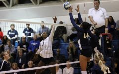 El Camino College womens volleyball outside hitter Mikayla Clark meets Fullerton College player Karen Delgadillo and middle blocker Samaria Longstreet at the net during the fifth set of their match on Tuesday, Nov. 26, in ECCs South Gym. ECC advances State Championships for third time in last four season. Jaime Solis/The Union