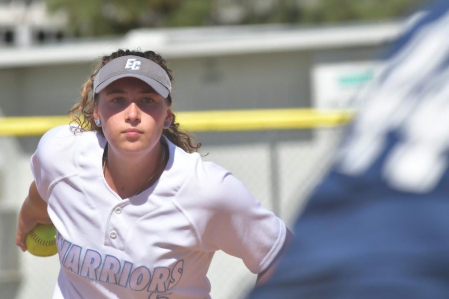 Warriors+freshman+pitcher%2C+Jamie+Garvey%2C+prepares+to+throw+one+of+many+strikes+on+Monday%2C+March+9+against+Los+Angeles+Harbor+College.+The+California+Community+College+Athletic+Association+suspended+games+and+practice+outside+of+regularly+scheduled+classes+due+to+concerns+over+the+rising+threat+of+coronavirus+cases+in+California.+%0ACameron+Klassen%2FThe+Union