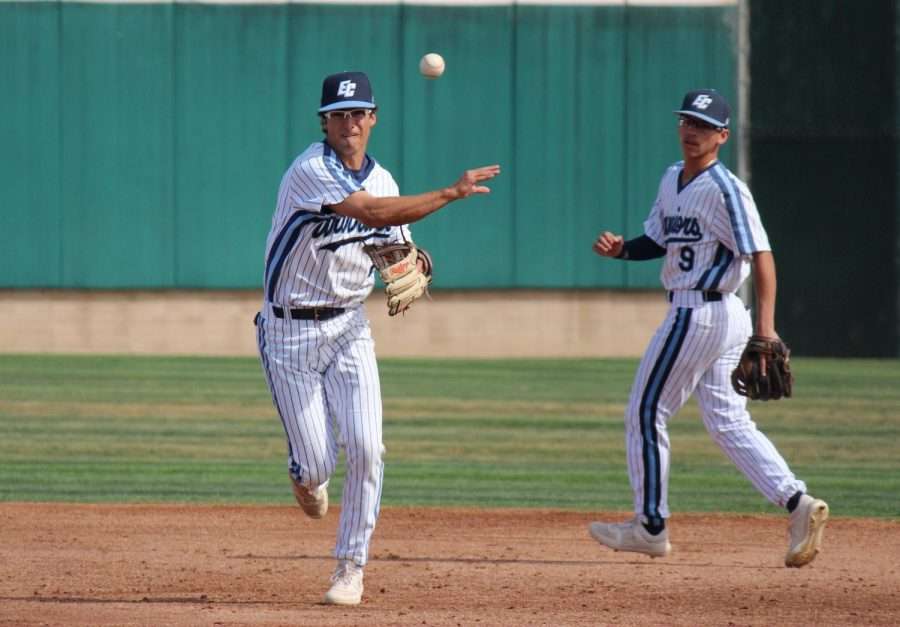 El Camino College shortstop Benny Casillas turns a double play in the third inning against East Los Angeles College in the game on Monday, March 9, at Warrior Field. CCCAA has cancelled spring seasons but announced restoration of competition for spring student-athletes. Kealoha Noguchi/The Union