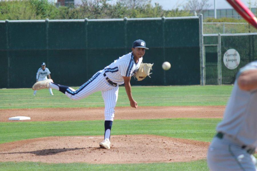 El Camino College starting pitcher Jimmy Galicia strikes out a East Los Angeles College hitter to begin the game on Monday, March 9, at Warrior Field. Galicia tossed a complete game striking out 10 batters while allowing three runs. Kealoha Noguchi/The Union