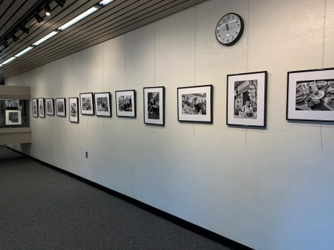 Photographs of the Hot N Tot Diner in Lomita, CA taken by Linda Detweiler Burner, hanging in the Schauerman Library.