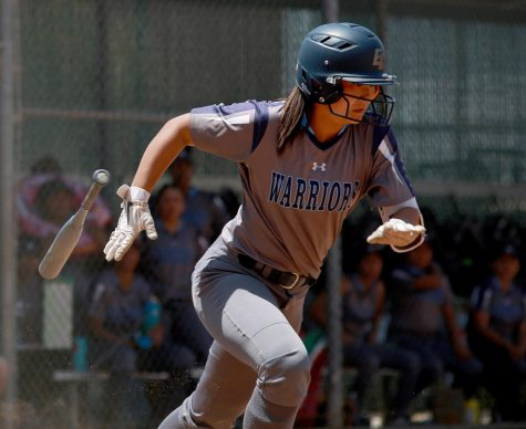 El Camino College softball player Mina Nakawake running to first base following a hit against San Diego Mesa College at ECC Softball Field on Saturday, May 4, 2019. Nakawake was one of four softball players from last year