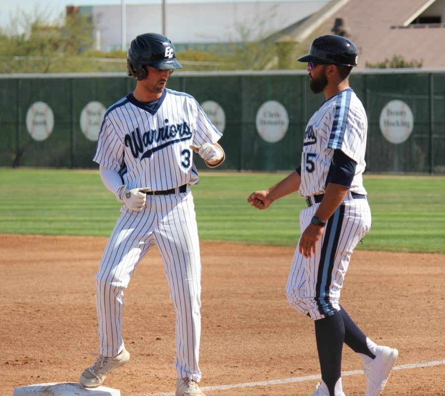 El Camino College baseball player Chasen Cosner at first base after hitting a single in the first inning against East Los Angeles College on Monday, March 9 at Warrior Field. Cosner has returned home to Oregon during the COVID-19 pandemic. Kealoha Noguchi/The Union