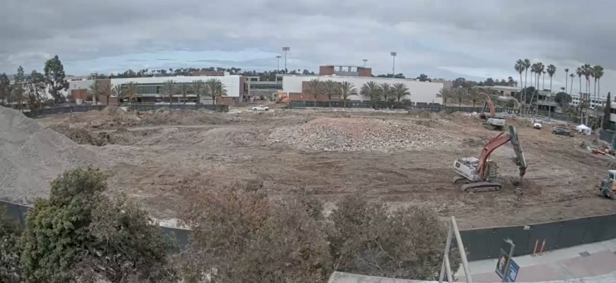 Construction for the new Behavioral & Social Science Building and the Arts Complex on Tuesday, May 12 via a livestream on the El Camino College website. The debris from the demolition of the old Student Services Building is being recycled to make concrete.