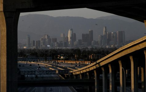 The I-110 freeway has significantly lighter traffic going both southbound and northbound at 7 p.m. on Wednesday, May 13 because of Los Angeles' ongoing stay-at-home order due to COVID-19. (Jamie Solis / Warrior Life)