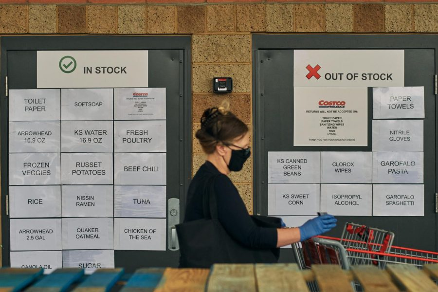 Signage outside of Costco in Marina Del Rey provides information about which products are in stock and which products are out of stock, Tuesday, April 7. Lots of sanitary products were out of stock in many stores because of COVID-19. (Cameron Klassen / Warrior Life)