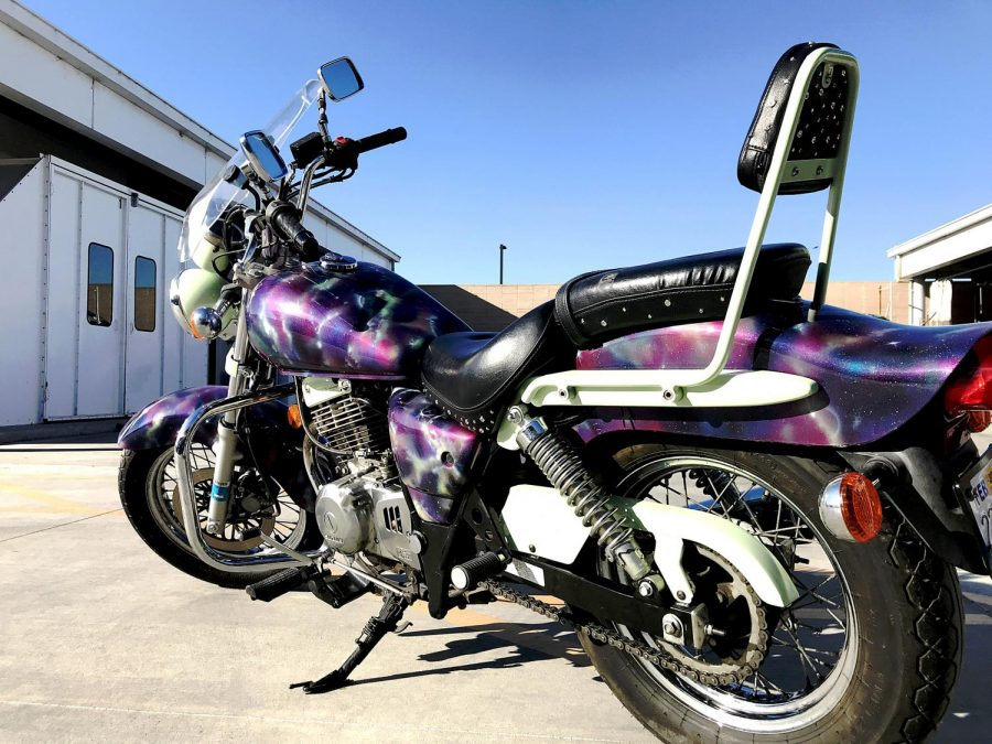 Michele Matamoros created an outer space, alien theme for her design on Tiana Brinton's Suzuki Galaxy. The custom design won Matamoros a first place category win, Tiana says. Photo courtesy of Michele Matamoros