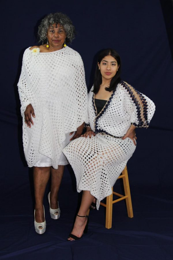 "Cheryl Brewer (left) stands next to Erika Leyva, both women in crochet pieces made by Cheryl Brewer on April 25. Erika Leyva is wearing the look that won the ""Best of Show"" award in El Camino's 2019 spring fashion show."