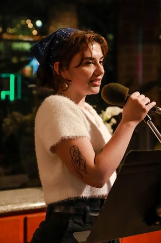 Redondo Poets hosts a weekly open mic every Tuesday at Coffee Cartel in Redondo Beach, California. On March 3, Thea Rosemary was the featured artist and read a 20 minute poetry set. Photo credit: Rosemary Montalvo