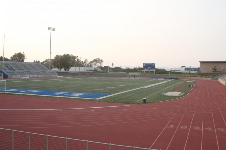 El Camino College's Featherstone Field, housed within EC's Murdock Stadium, quietly awaits the return of EC's athletes and fans kept away due to campus's closure. The field was renamed after Coach Featherstone in 2019. Image taken Sept. 16.