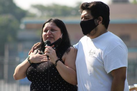 Joseph Hernández, Juan Carlos Hernández's older brother, embraces his mother, Yajaira Hernández, as she takes her turn to speak and her emotions begin to overtake her during the vigil for Juan Carlos Hernández. Yajaira spoke of her relationship with her children and pleaded that the public to use social media to #helpmefindJuan. (Jaime Solis/ The Union)