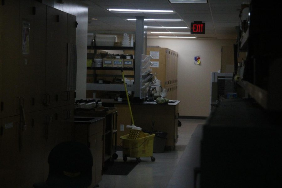 One of the storages rooms in the Chemistry building is unoccupied save for a mop and bucket left by a custodian of El Camino College. While the majority of classes are online, some classes that require in-person labs and lectures are still conducted on campus and rely on the custodial staff to maintain sanitation standards. Image taken Monday, Oct. 19. (Jaime Solis/ The Union)
