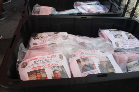 Bags of useful toiletries such as hand soap and toilet paper were distributed alongside missing posters of Juan Carlos Hernández during Juan's birthday celebration on Thursday, Oct. 15. Image taken Thursday, Oct. 15. (Jaime Solis/ The Union)