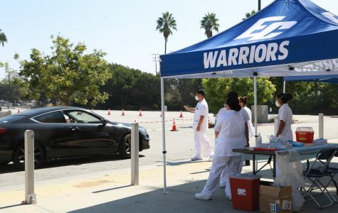 Student Health Services is partnering with the El Camino College Nursing Program to offer free flu shots for ECC Students in front of Marsee Auditorium. Originally slated to run from Monday, Sept. 28 to Friday, Oct. 2, the service has been extended to run an additional week, from Monday, Oct. 5 to Friday, Oct. 9 Image taken Tuesday, Sept. 29. (Mari Inagaki/ The Union) Photo credit: Mari Inagaki