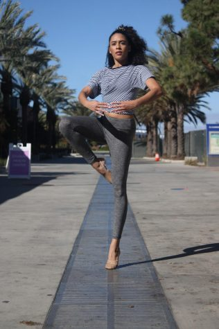 Jana Lipowski, music and dance major at El Camino College, practices he pirouette while on campus on Wednesday, Nov. 18. Doing a pirouette is harder than it looks because you have to incorporate several techniques and have good focus and balance, Lipowski said. (Jaime Solis/ The Union)