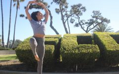 Jana Lipowski practices a piroette by the ECC bush in front of El Camino College's bookstore on Wednesday, Nov. 18. She started her journey here on campus three years ago, rekindling her passion for dance after six years after dance without it. (Jaime Solis/ The Union)