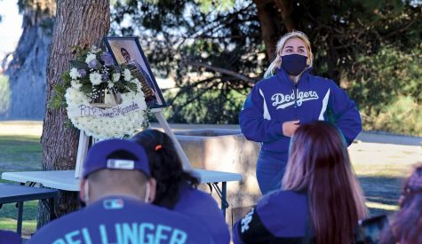 Rosemary Montalvo, a former ECC Union photo editor, shares fond memories of the time shared on staff with Juan Miranda. Montalvo and Ryan Farrell, another former Union staffer, organized a memorial for Miranda on Feb. 21 at Kenneth Hahn Park in Los Angeles. Miranda died on Jan. 22 of unknown causes. Photo by Gary Kohatsu/Special to the Union