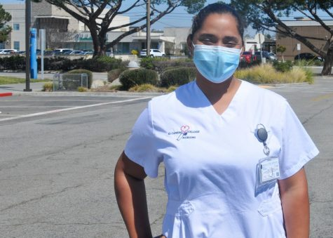 "Lidia Tejeda, a 30-year-old El Camino College nursing major, poses for a picture right after leaving her in-person nursing class on March 18, 2021, in Torrance, Calif. Tejeda is one of the few ECC students that have been able to take classes on campus during the Covid-19 pandemic. Tejeda said that she ""loved"" the hybrid learning style and hoped that it is something that she would be able to continue after the pandemic. (Walter Jay Jr. / The Union) Photo credit: Walter Jay"