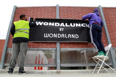 The Wondalunch event, hosted by Wondaland, was held on Saturday, April 24, in El Camino College's parking lot B. Families were invited to the drive-thru event to pick up prepared lunches and food. (Mari Inagaki/ The Union)