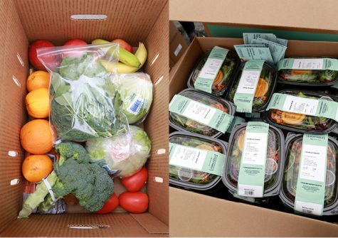 Boxes filled with fresh produce and pre-packaged meals, such as in the two images, were distributed to families that attended the Wondalunch drive-thru event at El Camino College on Saturday, April 24. (Mari Inagaki/ The Union)