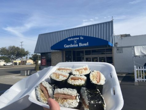 Spam Musubi is a perfect meal on the go. A piece of spam fried in soy sauce and sugar, wrapped in warm sticky rice and seaweed. Gardena bowl is currently offering outdoor dining and takeout.