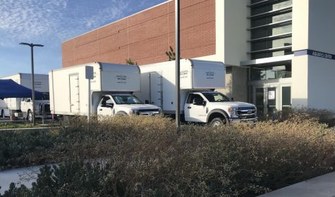 Galpin Studio Rental trucks parked near Murdock Stadium on May 8 at 6:22 p.m. It has been confirmed by Kerri Webb, Director of Public Information and Government Relations that footwear manufacturing company Nike were on campus filming a commercial. (Nick Broadhead/ The Union)