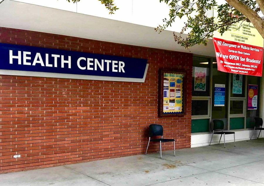 A sign that reads No emergency or walk-in services hangs above the El Camino College Health Center window on Monday, Oct. 4. Registered nurses who have been hired by El Camino work for the center and try to help students with preventive and physical care they may need. Nicholas Broadhead/The Union
